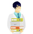 young asian doctor holding pile of folders vector image vector image