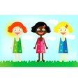 Happy colorful girls from all over the world vector image