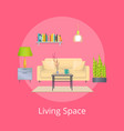 living space promo poster with interior design