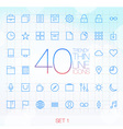 40 Trendy Thin Icons for web and mobile Set 1 vector image vector image