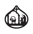 adoration magi silhouette icon on white vector image