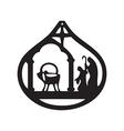 Adoration of the Magi silhouette icon on white vector image