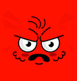 angry emoticon red square face expression vector image