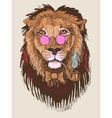 artwork of hipster lion smoking tube in pink vector image vector image