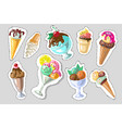 Big set of cute cartoon ice creams stickers cute