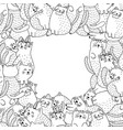 black and white frame with cute cats vector image vector image