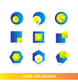 Blue yellow logo elements icon set collection vector image vector image