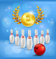 bowling victory 3d composition vector image vector image