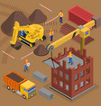 building crane isometric composition vector image