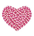 candy heart made of pink and white lollipops and vector image