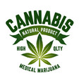 cannabis emblem vector image vector image