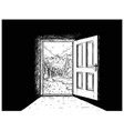 cartoon of door to nature freedom vector image