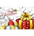 christmas gift box and balls vector image