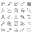 construction and building icons set in thin vector image