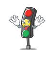 crazy traffic light character cartoon vector image vector image
