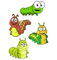 Cute colorful cartoon caterpillars characters vector image vector image