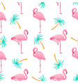 flamingo and palm tree summer tropical seamless vector image vector image