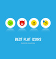 flat icon emoji set of pouting tears frown and vector image vector image
