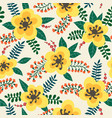 floral pattern yellow flowers plants branches vector image vector image