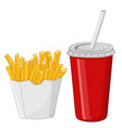 french fries and a drink in a red disposable cup vector image