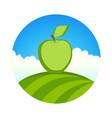 garden with apple round label organic farm vector image vector image