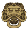 gold lion holding a snake door knocker hand vector image