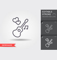 guitar and hearts line icon with shadow and vector image vector image