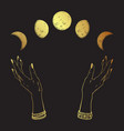 hand drawn line art and dot work gold moon phases vector image vector image