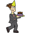 happy daddy with a birthday cake vector image vector image
