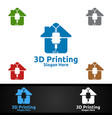 home 3d printing company logo design for media