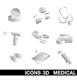 Icon Set medical 3D vector image vector image