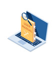 isometric user manual with magnifying glass vector image