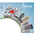 izmir skyline with gray buildings blue sky and vector image vector image