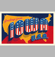 july 4th iowa usa retro travel postcard vector image