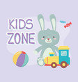 kids zone plastic train and rabbit toys vector image vector image
