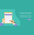 landing house insurance on clipboard with hands vector image vector image