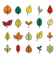 leaves line icon collection vector image vector image