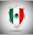 mexico flag on metal shiny shield collection vector image vector image