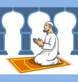 moslem men sit and pray vector image vector image