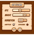 Option menu wooden style game buttons vector image vector image