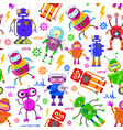 pattern with cute robots vector image vector image