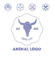 Polygonal hipster logo with head of buffalo in vector image vector image