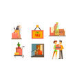 real estate icons set house for sale people vector image