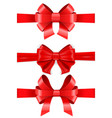 red ribbon bows set vector image vector image