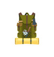 rucksack or backpack with hiking camping tools vector image