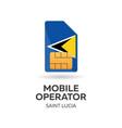 saint lucia mobile operator sim card with flag vector image vector image