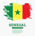 senegal flag with brush strokes vector image vector image