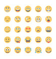 smiley flat icons set 9 vector image