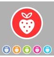 strawberry icon flat web sign symbol logo label vector image vector image