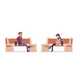 stylish man and woman in autumn clothes sitting on vector image